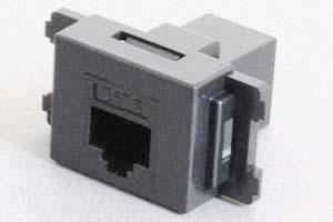コンセントチップ(スナップインセット品) コンセント側:RJ-45(CAT6 UTP)メス/壁内側:RJ-45(CAT6 UTP)メス 横型 黒