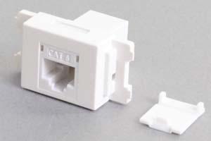 コンセントチップ(スナップインセット品) コンセント側:RJ-45(CAT6 UTP)メス/壁内側:RJ-45(CAT6 UTP)メス 横型 防塵カバー付き 白