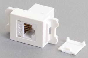 コンセントチップ(スナップインセット品) コンセント側:RJ-45(CAT6 UTP)メス/壁内側:RJ-45(CAT6 UTP)メス 縦型 防塵カバー付き 白