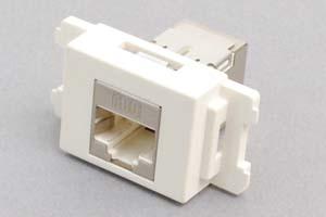 コンセントチップ(スナップインセット品) 【10Gbps伝送対応】 コンセント側:RJ-45(CAT6A STP)メス/壁内側:RJ-45(CAT6A STP)メス 横型 白