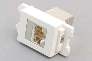 コンセントチップ(スナップインセット品) 【10Gbps伝送対応】 コンセント側:RJ-45(CAT6A STP)メス/壁内側:RJ-45(CAT6A STP)メス 縦型 白