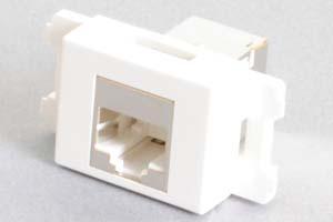 コンセントチップ(スナップインセット品) コンセント側:RJ-45(CAT6 STP)メス/壁内側:RJ-45(CAT6 STP)メス 横型 白