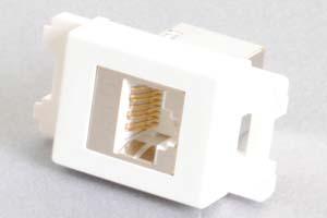 コンセントチップ(スナップインセット品) コンセント側:RJ-45(CAT6 STP)メス/壁内側:RJ-45(CAT6 STP)メス 縦型 白