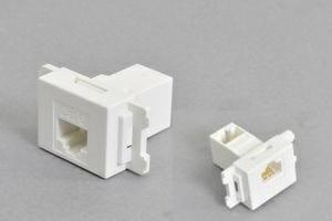 コンセントチップ(スナップインセット品) コンセント側:RJ-45(CAT6 UTP)メス/壁内側:RJ-45(CAT6 UTP)メス 90°アングル方向 横型 白