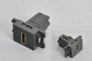 コンセントチップ(スナップインセット品) コンセント側:HDMIメス/壁内側:HDMIメス 縦型 背面アングル方向配線引き出しタイプ 黒【HDMI2.0対応】