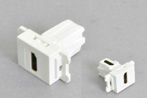 コンセントチップ(スナップインセット品) コンセント側:HDMIメス/壁内側:HDMIメス 縦型 背面アングル方向配線引き出しタイプ 白【HDMI2.0対応】