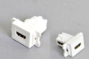コンセントチップ(スナップインセット品) コンセント側:HDMIメス/壁内側:HDMIメス 横型 背面アングル方向配線引き出しタイプ 白【HDMI2.0対応】