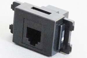 コンセントチップ(スナップインセット品) コンセント側:RJ-12メス/壁内側:RJ-12メス(両側6極6芯モジュラーコネクタのメス)、6極4芯RJ-11も適合 横型 黒