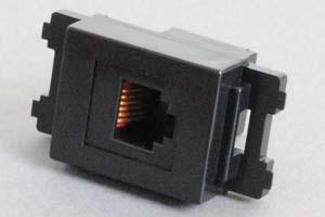 コンセントチップ(スナップインセット品) コンセント側:RJ-12メス/壁内側:RJ-12メス(両側6極6芯モジュラーコネクタのメス)、6極4芯RJ-11も適合 縦型 黒