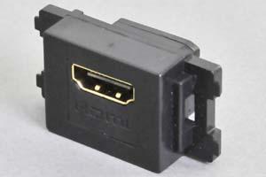 コンセントチップ(スナップインセット品) コンセント側:HDMIメス/壁内側:HDMIメス 横型 黒 全長短尺タイプ 【HDMI2.0対応】