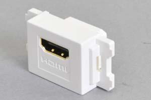 コンセントチップ(スナップインセット品) コンセント側:HDMIメス/壁内側:HDMIメス 横型 白 全長短尺タイプ 【HDMI2.0対応】