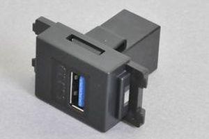 コンセントチップ(スナップインセット品) コンセント側:USB3.0-TypeAメス/壁内側:USB3.0-TypeAメス 【USB3.0対応】ストレート結線タイプ 縦型 黒