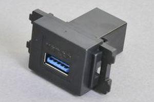 コンセントチップ(スナップインセット品) コンセント側:USB3.0-TypeAメス/壁内側:USB3.0-TypeAメス 【USB3.0対応】ストレート結線タイプ 横型 黒