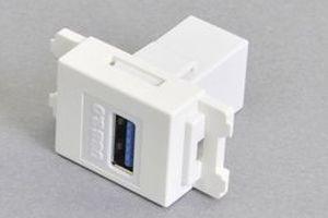 コンセントチップ(スナップインセット品) コンセント側:USB3.0-TypeAメス/壁内側:USB3.0-TypeAメス 【USB3.0対応】ストレート結線タイプ 縦型 白