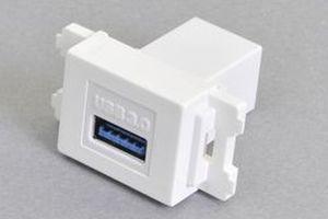 コンセントチップ(スナップインセット品) コンセント側:USB3.0-TypeAメス/壁内側:USB3.0-TypeAメス 【USB3.0対応】ストレート結線タイプ 横型 白