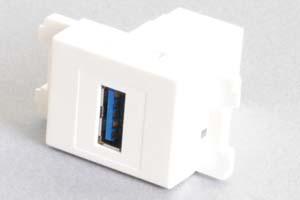 コンセントチップ(スナップインセット品) コンセント側:USB3.0-TypeAメス/壁内側:USB3.0-TypeAメス 【USB3.0対応】クロス結線タイプ 縦型 白