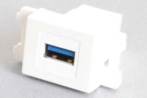 コンセントチップ(スナップインセット品) コンセント側:USB3.0-TypeAメス/壁内側:USB3.0-TypeAメス  【USB3.0対応】クロス結線タイプ 横型 白