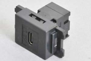 コンセントチップ(スナップインセット品) コンセント側:USB3.1-TypeCメス/壁内側:USB3.1-TypeCメス 【USB3.1対応】 縦型 黒