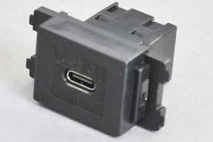 コンセントチップ(スナップインセット品) コンセント側:USB3.1-TypeCメス/壁内側:USB3.1-TypeCメス 【USB3.1対応】 横型 黒