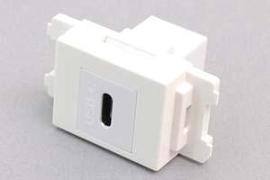 コンセントチップ(スナップインセット品) コンセント側:USB3.1-TypeCメス/壁内側:USB3.1-TypeCメス 【USB3.1対応】 縦型 白