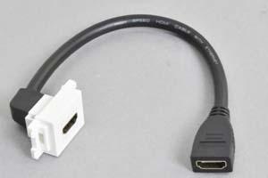 コンセントチップケーブル コンセント側:HDMIメス横型白色/壁内側:HDMIメスコネクタの90°アングル方向ケーブル20cm引き出し