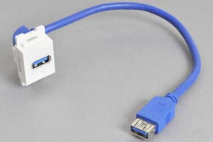 コンセントチップケーブル コンセント側:USB3.0-Aメス縦型白色/壁内側:USB3.0-Aメスコネクタの90°アングル方向ケーブル20cm引き出し 【USB3.0対応、ストレート結線】