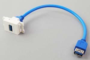 コンセントチップケーブル コンセント側:USB3.0-Aメス縦型白色/壁内側:USB3.0-Aメスコネクタのストレート方向ケーブル20cm引き出し 【USB3.0対応、ストレート結線】