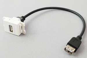 コンセントチップケーブル コンセント側:USB2.0-A縦型白色/壁内側:USB2.0-Aメスコネクタのストレート方向ケーブル20cm引き出し