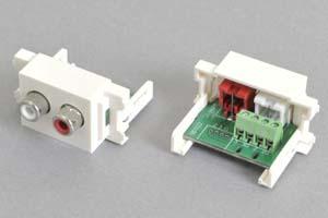 コンセントチップ  コンセント側:RCAメス×2口(赤、白)/壁内側:端子台配線、白