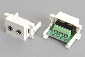 コンセントチップ  コンセント側:3.5mmステレオミニジャック(メス)×2口/壁内側:端子台配線、白