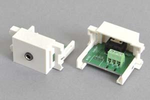 コンセントチップ  コンセント側:3.5mmステレオミニジャック(メス)/壁内側:端子台配線、白