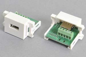 コンセントチップ  コンセント側:USB2.0-Aメス端子/壁内側:端子台配線、白