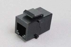スナップイン中継コネクタ 両側RJ-12メス筒型(6極6芯モジュラーコネクタ(メス)、6極4芯RJ-11も適合、カプラータイプ)