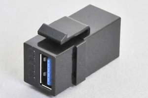 スナップイン中継コネクタ USBコネクタ(Aコネクタ メス 黒) 【USB3.0対応】 ストレート結線タイプ