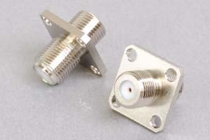 同軸コネクタ用中継アダプタ  両側F型メス(パネル取付型:M3ネジ取付タイプ、インピーダンス75Ω)