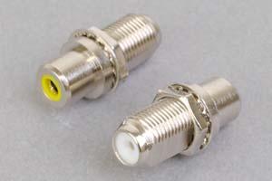 同軸コネクタ用変換アダプタ  F型メス-RCAメス(パネル取付型、インピーダンス75Ω)