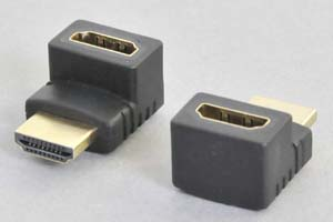 HDMI中継アダプタ タイプAオス-タイプAメス 垂直L型(上向き) 【HDMI2.0対応】