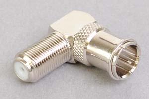 同軸コネクタ用変換アダプタ  F型オス(差込型)-F型メス(Lアングル型、インピーダンス75Ω)