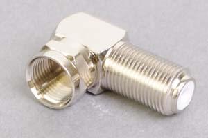 同軸コネクタ用変換アダプタ  F型オス-F型メス(Lアングル型、インピーダンス75Ω)