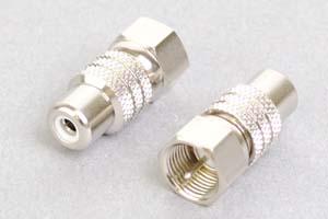 同軸コネクタ用変換アダプタ  F型オス-RCAメス(インピーダンス75Ω)