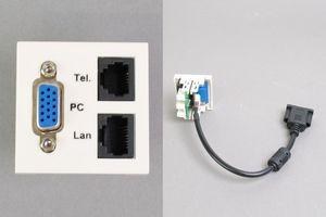 45モジュール(コンセント:VGAメス+TEL+LAN/内側配線:VGAメス端子ケーブル+TELおよびLAN圧接コネクタ)