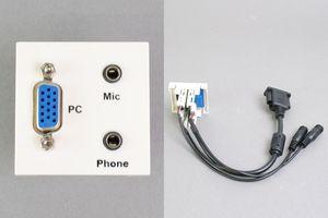 45モジュール(コンセント:VGAメス+3.5㎜ステレオミニメス×2個/内側配線:VGAメス+3.5㎜ステレオミニメス×2本 端子ケーブル)
