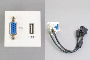 45モジュール(コンセント:VGAメス+USB Aメス/内側配線:VGAメス+USB Aメス端子ケーブル)
