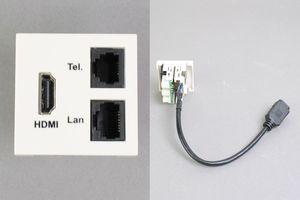 45モジュール(コンセント:HDMIメス+TEL+LAN/内側配線:HDMIメス端子ケーブル+TELおよびLAN用圧接コネクタ)