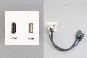 45モジュール(コンセント:HDMIメス+USB Aメス/内側配線:HDMIメス+USB Aメス端子ケーブル)
