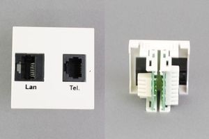 45モジュール(コンセント:TEL+LAN/内側配線:圧接コネクタ)