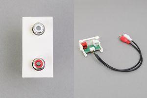 45ハーフモジュール(コンセント:赤・白RCAメス/内側配線:赤・白RCAメス端子ケーブル)