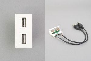 45ハーフモジュール(コンセント:USB Aメス×2/内側配線:USB Aメス端子ケーブル×2)