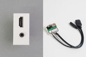 45ハーフモジュール(コンセント:HDMIメス+3.5㎜ステレオミニメス/内側配線:HDMIメス+3.5㎜ステレオミニメス端子ケーブル)