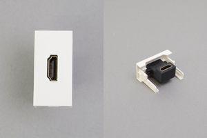 45ハーフモジュール(HDMIメス-HDMIメス 中継端子、Lアングル型)